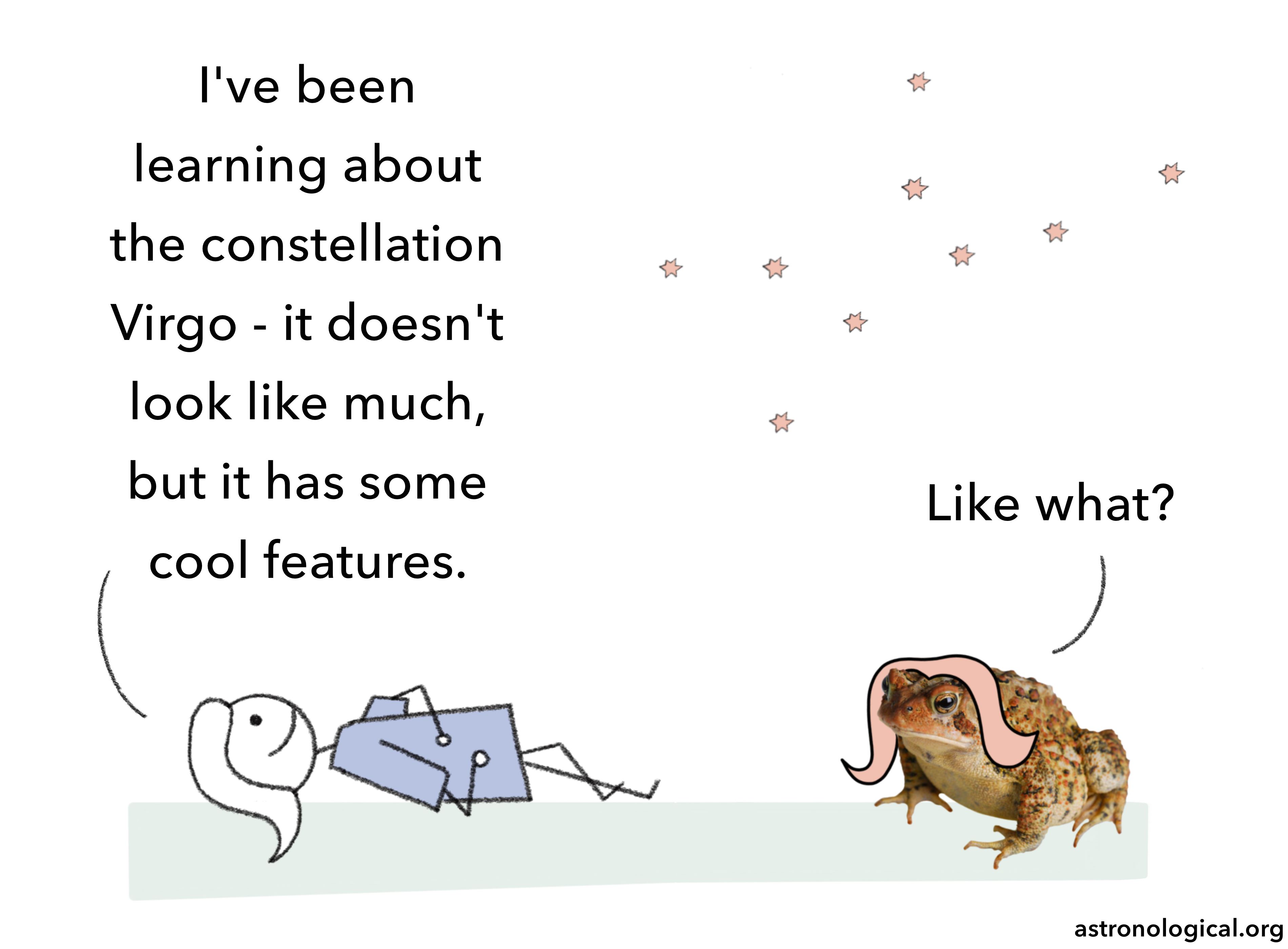 A stick figure girl is lying down looking up at the Virgo constellation and talking to a warty toad wearing a wig. She says: I've been learning about the constellation Virgo - it doesn't look like much, but it has some cool features.  The toad replies: Like what?