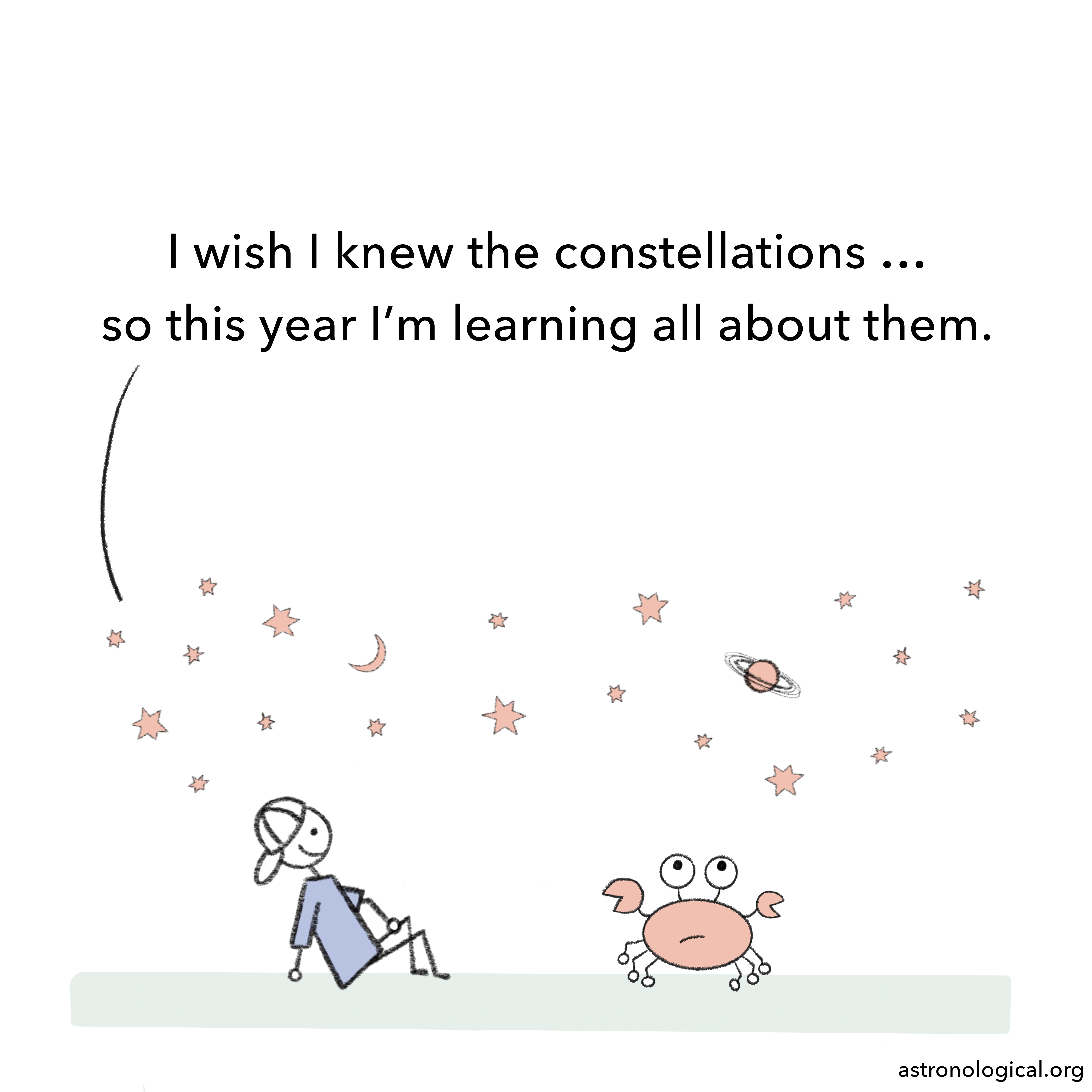 A stick figure guy and a crab are sitting looking at the stars. The guy says: I wish I knew the constellations, so this year I'm learning all about them.