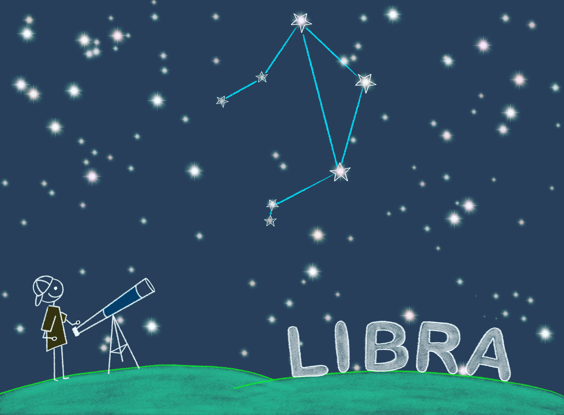 A stick figure is looking through a telescope at the Libra constellation